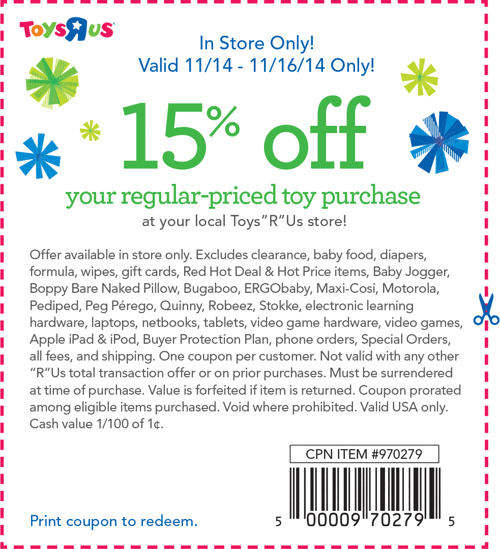 Toys R Us Coupon December 2016 15% off at Toys R Us