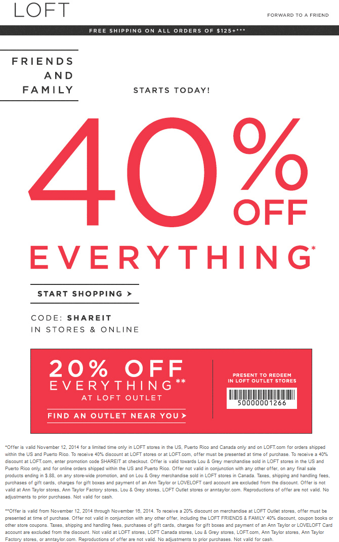 LOFT Coupon October 2016 40% off at LOFT, or online via promo code SHAREIT - extra 20% at outlet locations