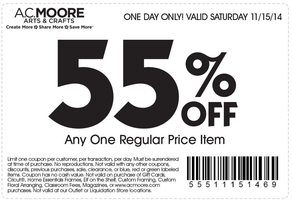 A.C. Moore Coupon December 2018 55% off a single item today at A.C. Moore