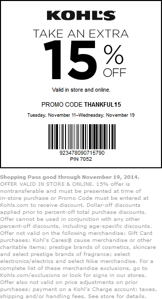 Kohls Coupon February 2019 15% off at Kohls, or online via promo code THANKFUL15
