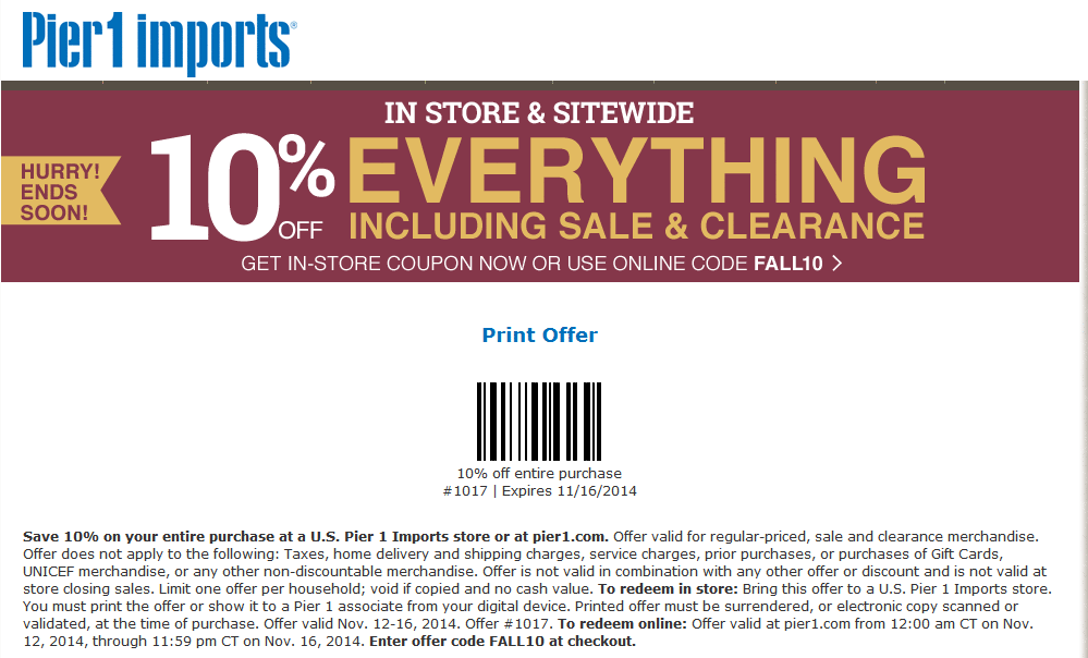 Pier 1 Coupon November 2017 10% off everything at Pier 1 Imports, or online via promo code FALL10