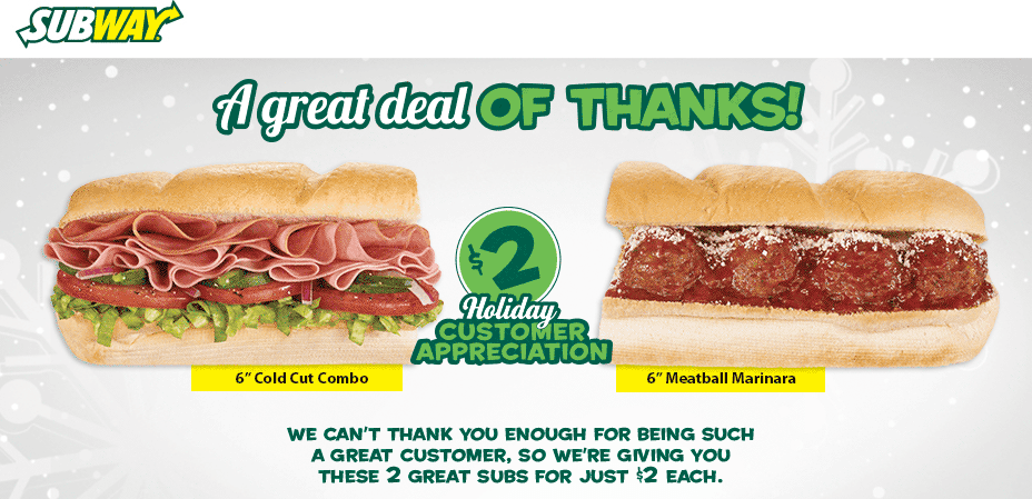 Subway Coupon February 2017 6in cold cut or meatball sandwich just $2 bucks at Subway