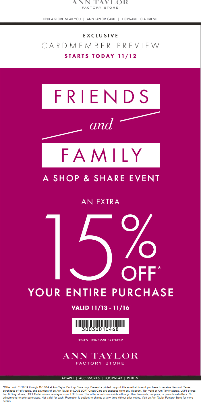 Ann Taylor Factory Coupon October 2016 Extra 15% off today at Ann Taylor Factory locations