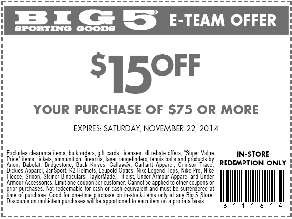 Big 5 Coupon February 2018 $15 off $75 at Big 5 sporting goods