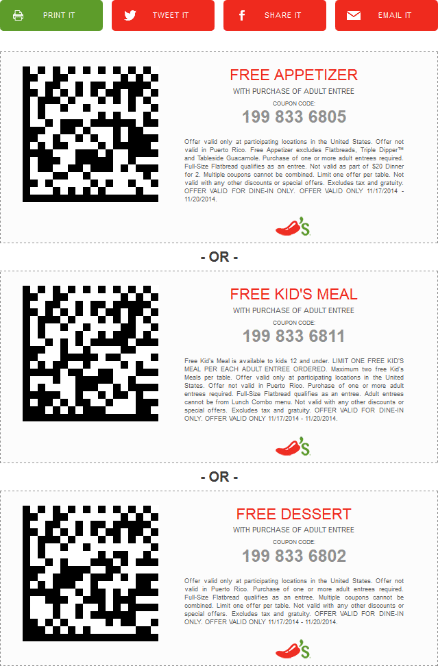 Chilis Coupon November 2018 Free appetizer, kids meal or dessert with your entree at Chilis