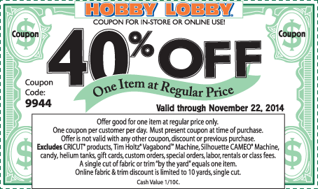 Hobby Lobby Coupon March 2017 40% off a single item at Hobby Lobby, or online via promo code 9944