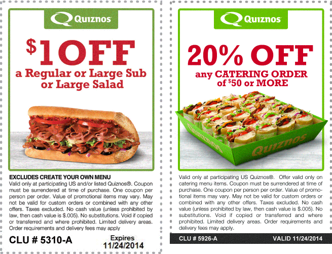 Quiznos Coupon July 2017 Shave a buck off your sandwich & more at Quiznos