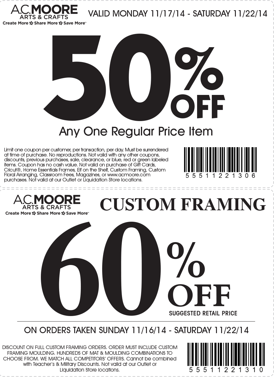 A.C. Moore Coupon February 2017 50% off a single item at A.C. Moore