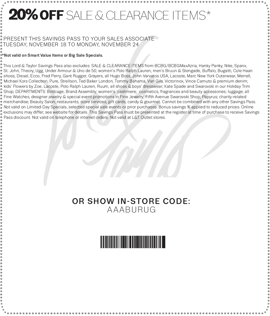 Lord & Taylor Coupon March 2018 Extra 20% off sale & clearance at Lord & Taylor, or online via promo code BIG