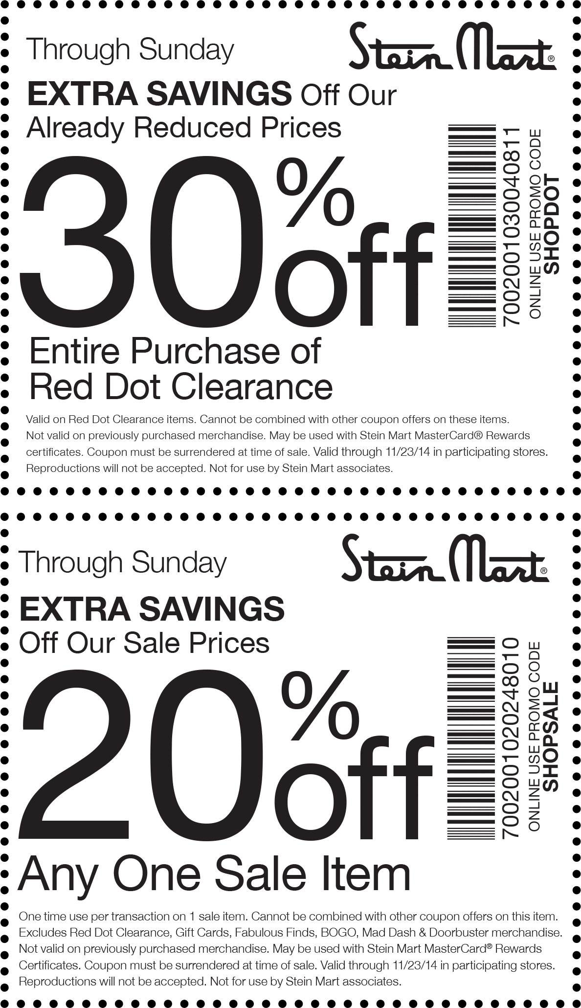 Stein Mart Coupon October 2016 Extra 20% off a single sale item & more at Stein Mart, or online via promo code SHOPSALE