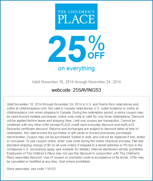 Childrens Place Coupon July 2018 25% off everything at The Childrens Place, or online via promo code 25SAVINGS3