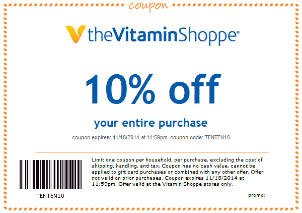 The Vitamin Shoppe Coupon October 2016 10% off everything today at The Vitamin Shoppe