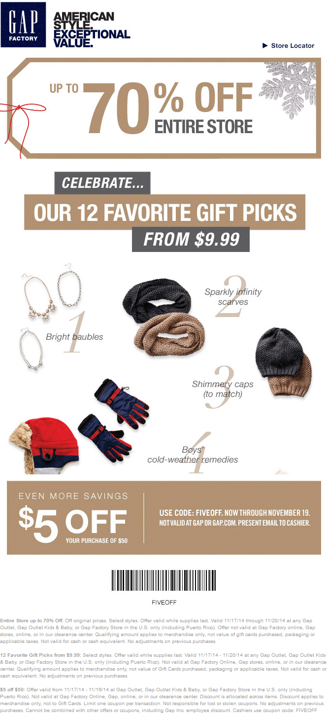Gap Outlet Coupon December 2018 Quick $5 off $50 today at Gap Outlet, Gap Outlet Kids & Baby, or Gap Factory Store