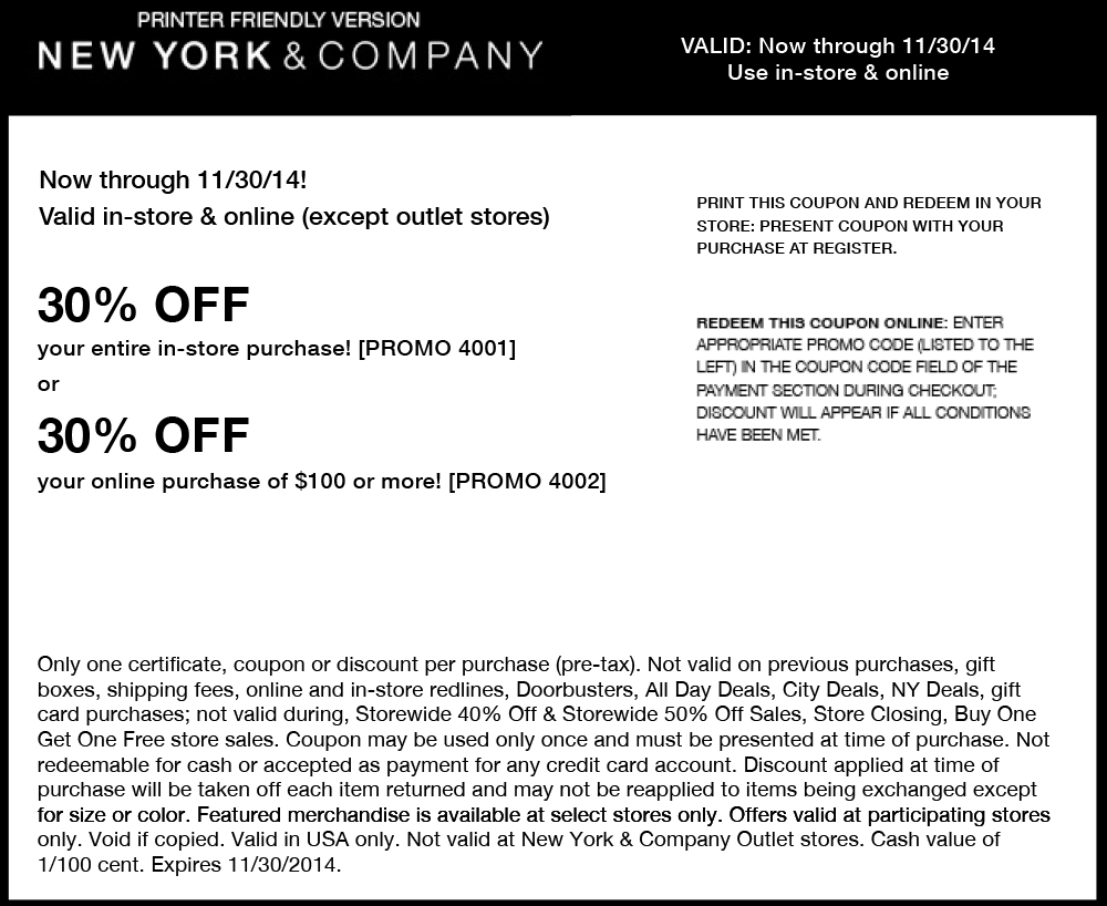 New York & Company Coupon November 2018 30% off everything at New York & Company, or online via promo code 4002