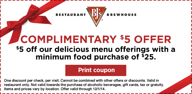 BJs Brewhouse Coupon July 2018 $5 off $25 at BJs Brewhouse restaurant