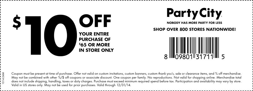 Party City Coupon April 2017 $10 off $65 at Party City