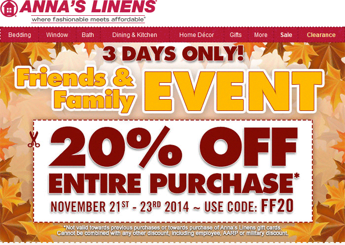Annas Linens Coupon February 2019 20% off at Annas Linens, or online via promo code FF20