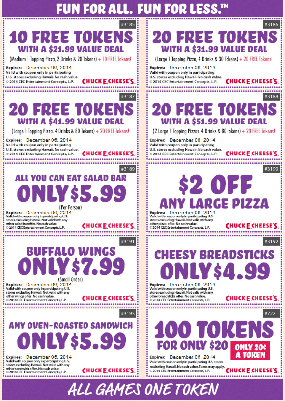 Chuck E. Cheese Coupon July 2017 100 tokens just $20 & more at Chuck E. Cheese pizza