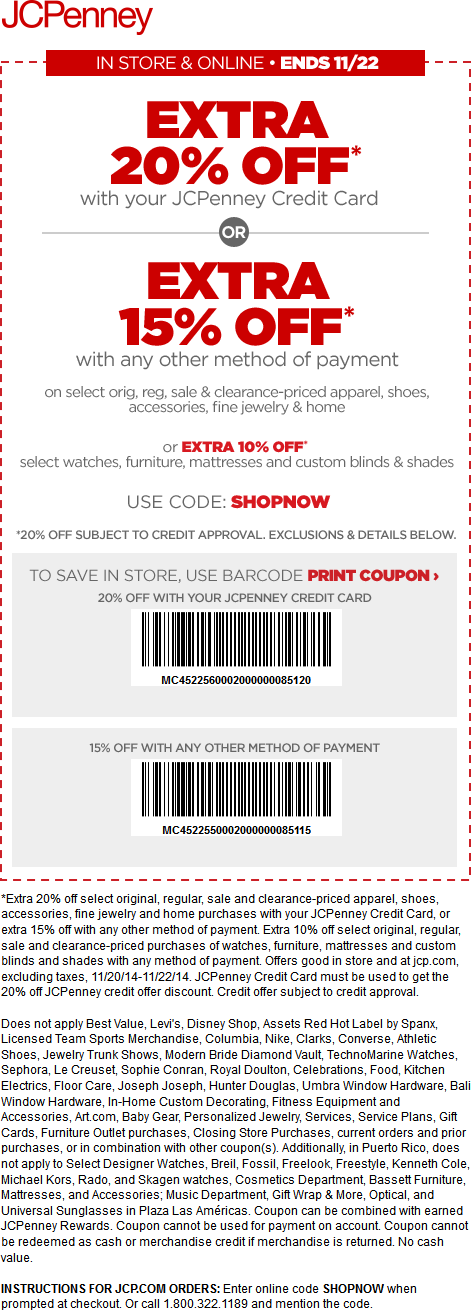 JCPenney Coupon March 2017 15% off at JCPenney, or online via promo code SHOPNOW