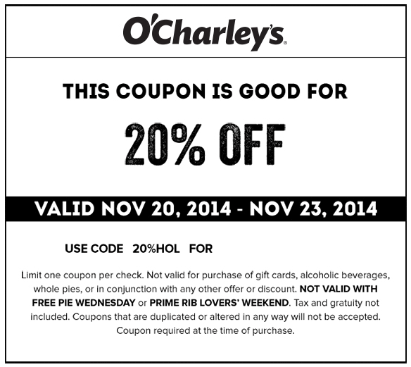 OCharleys Coupon June 2017 20% off at OCharleys restaurants