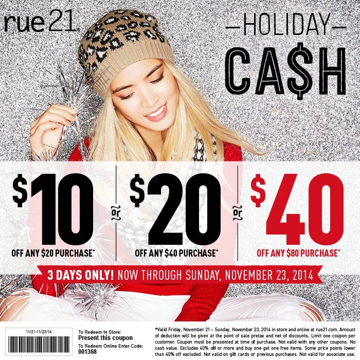 Rue21 Coupon November 2018 $10 off $20 & more at rue21, or online via promo code 001368