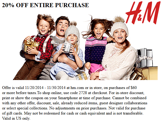 H&M Coupon March 2018 20% off $60 at H&M, or online via promo code 2728
