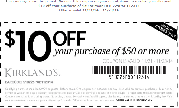 Kirklands Coupon February 2019 $10 off $50 this weekend at Kirklands