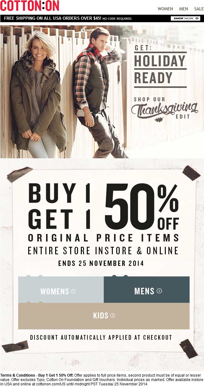 Cotton On Coupon November 2018 Second item 50% off at Cotton On, ditto online