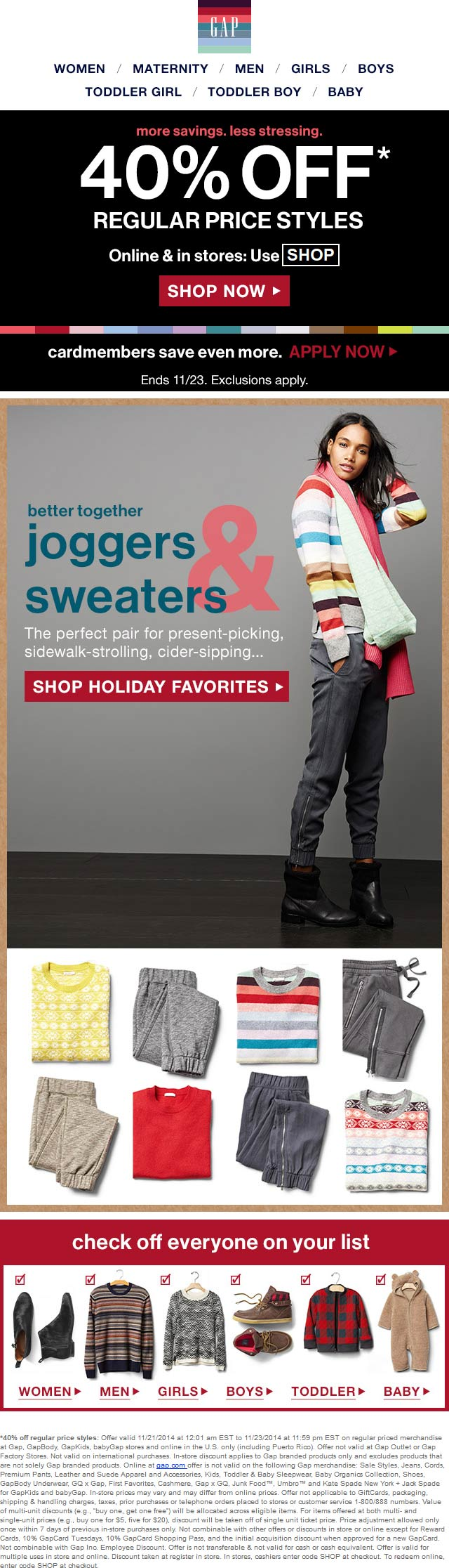 Gap Coupon November 2018 40% off at Gap, or online via promo code SHOP