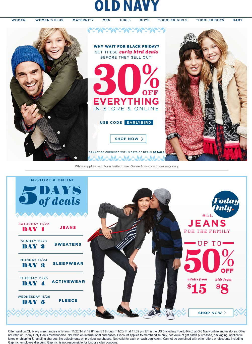 Old Navy Coupon January 2017 30% off everything at Old Navy, or online via promo code EARLYBIRD