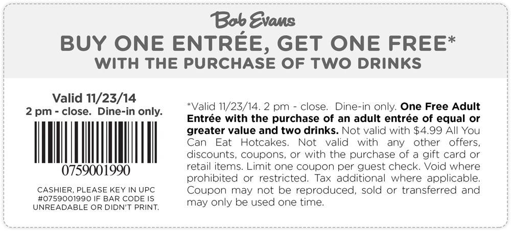 Bob Evans Coupon October 2016 Second entree free today at Bob Evans