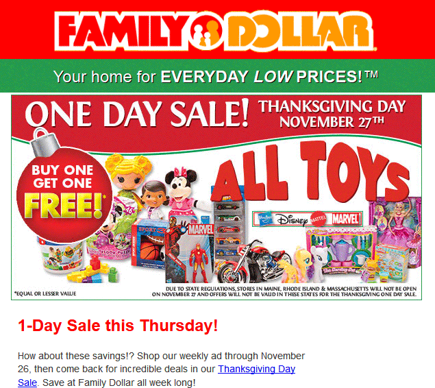 Family Dollar Coupon October 2016 Second one free on all toys Thursday at Family Dollar