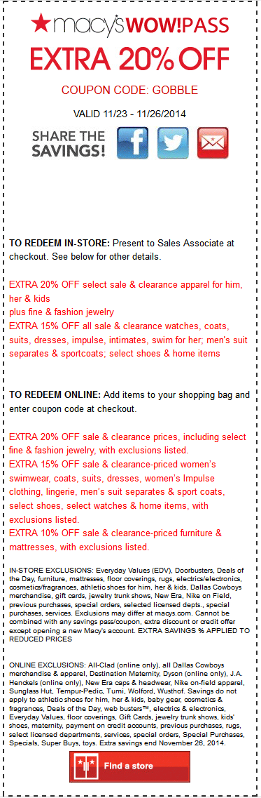 Macys Coupon March 2018 Extra 20% off sale & clearance at Macys, or online via promo code GOBBLE