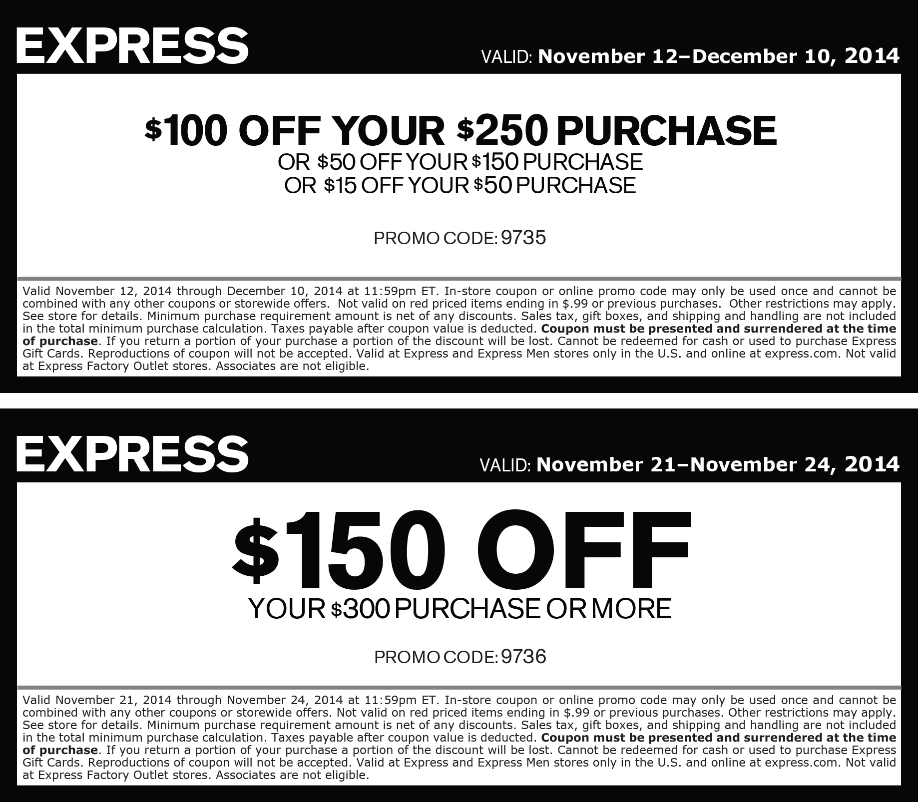 Express Coupon September 2017 $15 off $50 & more at Express, or online via promo code 9735