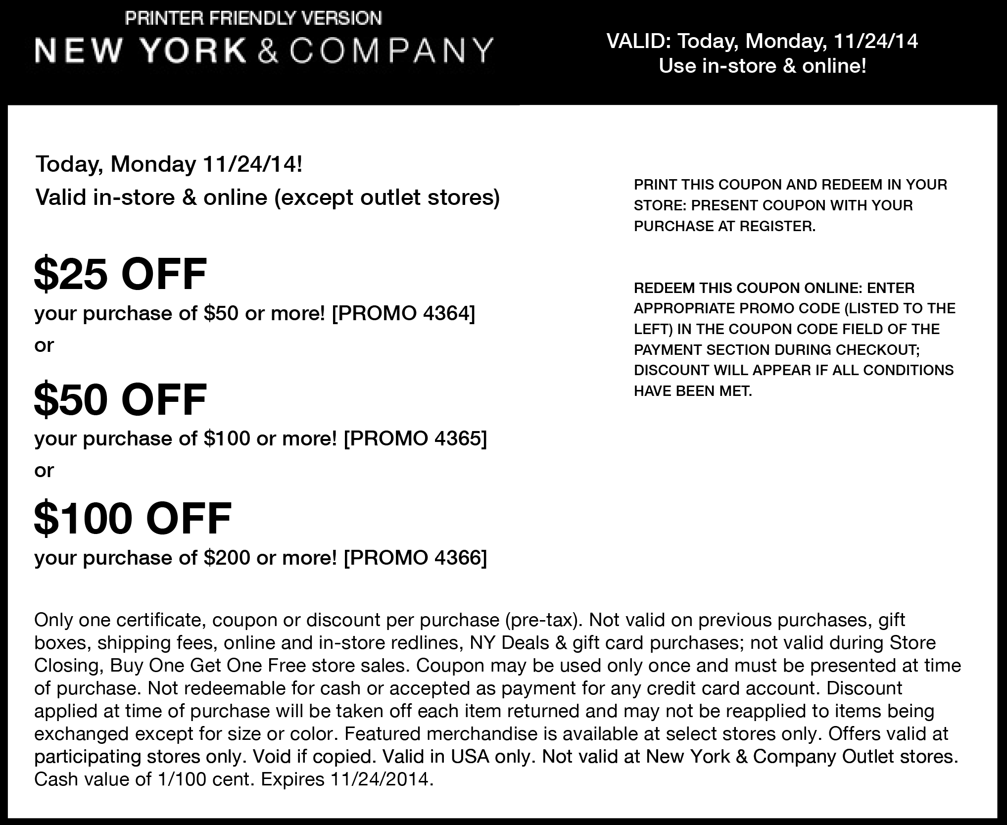 New York & Company Coupon September 2017 $25 off $50 & more today at New York & Company, or online via promo code 4364