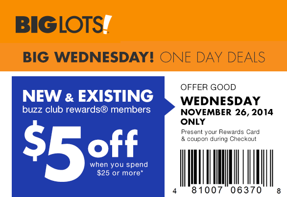 Big Lots Coupon October 2018 $5 off $25 Wednesday at Big Lots