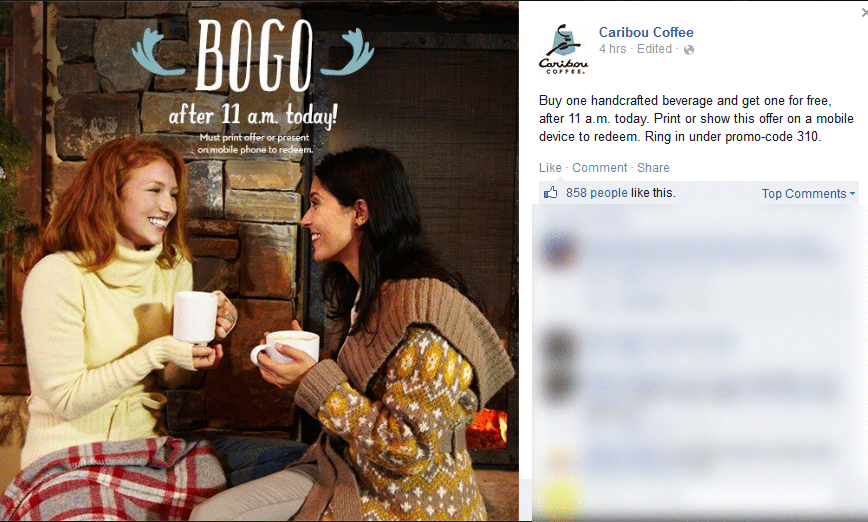 Caribou Coffee Coupon September 2017 Second drink free today at Caribou Coffee
