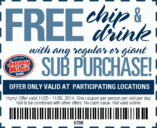 Jersey Mikes Coupon May 2017 Free chips & drink with your sub at Jersey Mikes