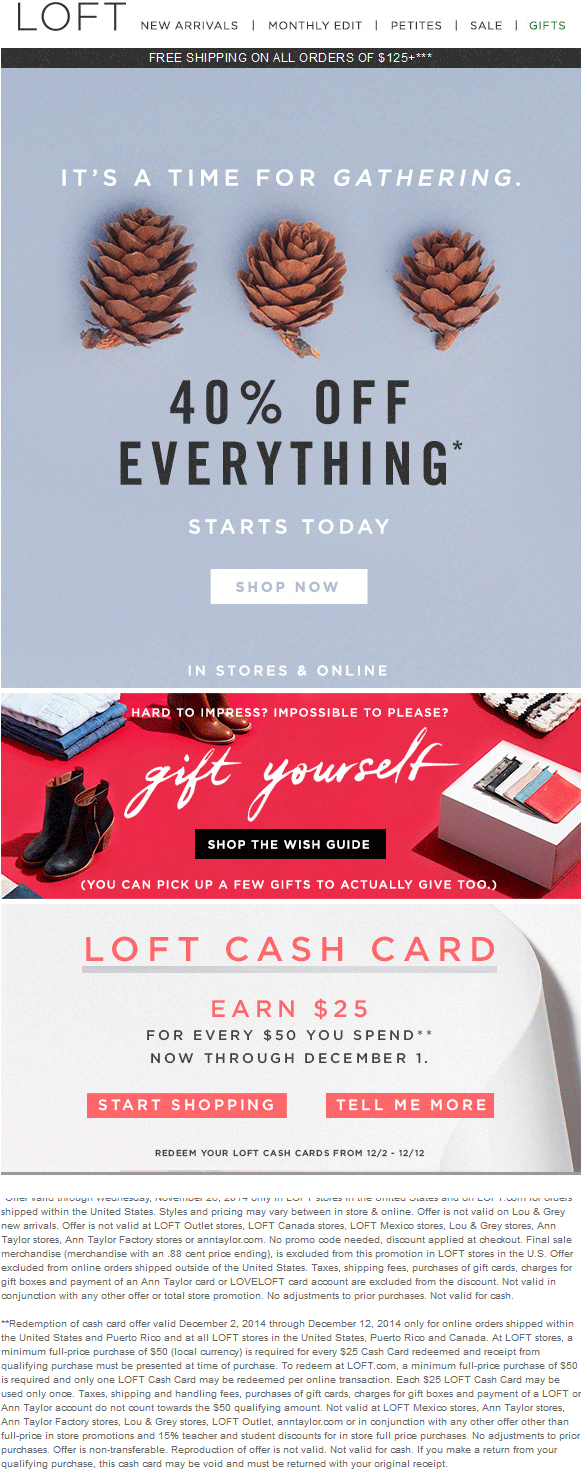 LOFT Coupon December 2016 40% off everything at LOFT, ditto online