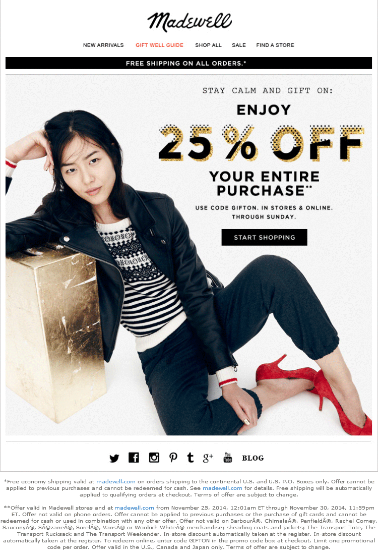 Madewell Coupon July 2018 25% off everything at Madewell, or online via promo code GIFTON