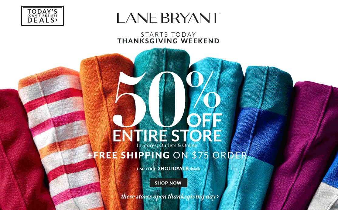 Lane Bryant Coupon April 2019 50% off everything at Lane Bryant, Outlet locations & online