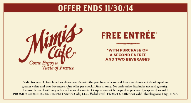 Mimis Cafe Coupon October 2018 Second entree free at Mimis Cafe