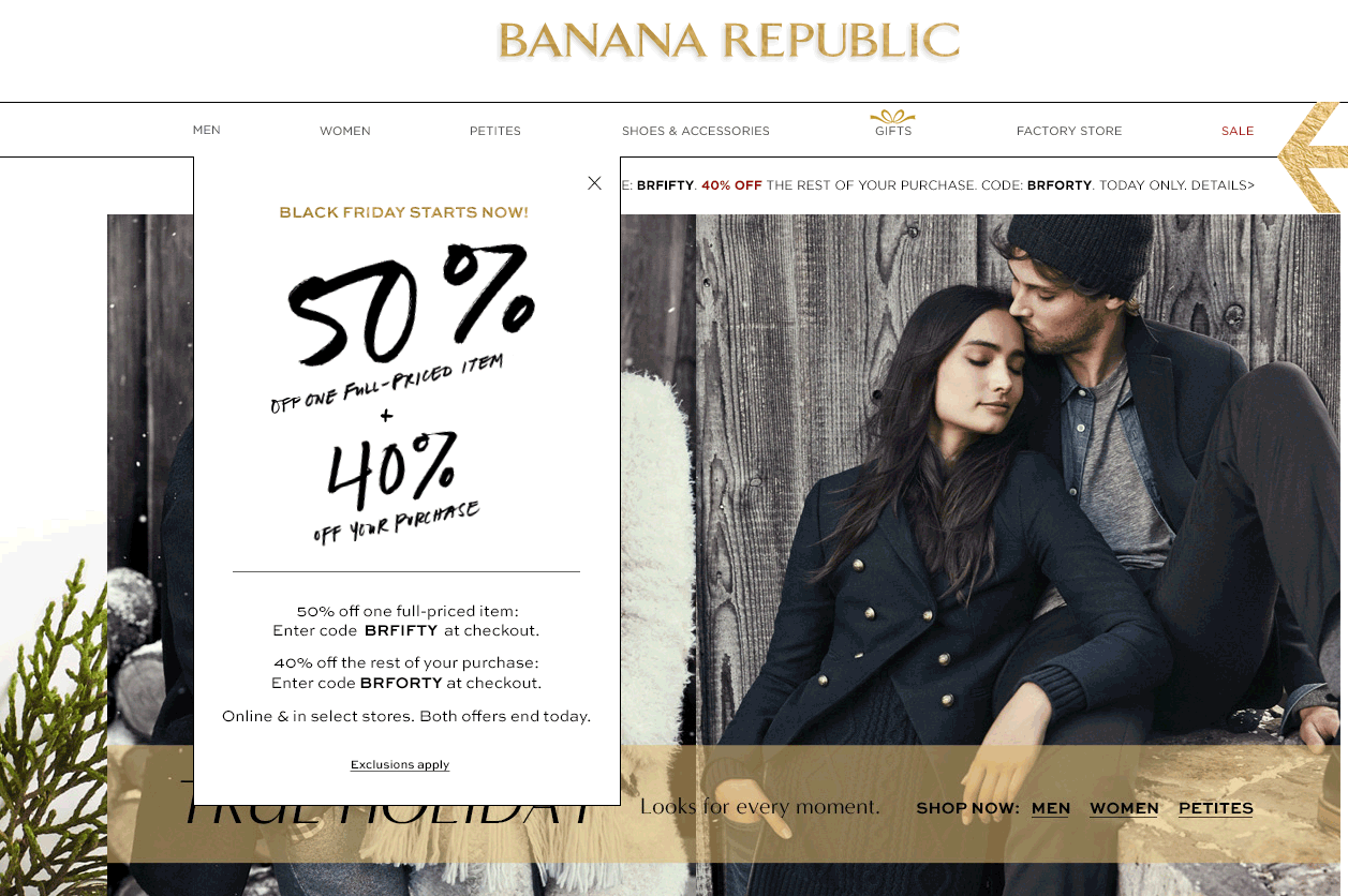 Banana Republic Coupon December 2016 50% off a single item, 40% off the rest today at Banana Republic, or online via promo code BRFIFTY