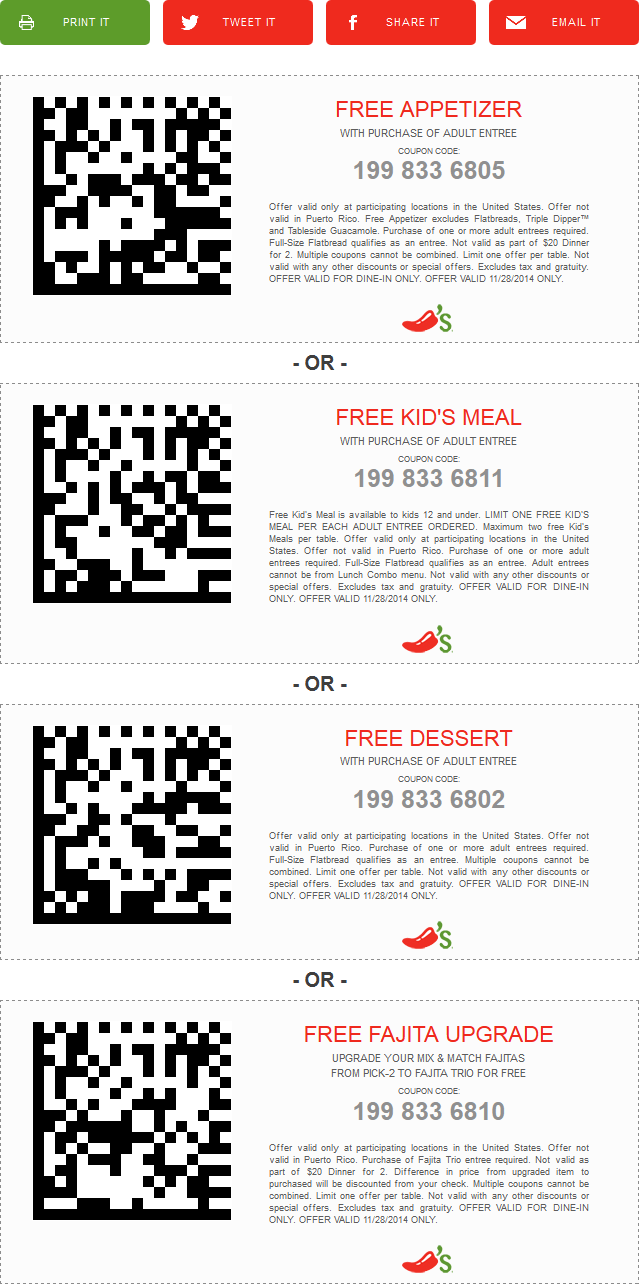 Chilis Coupon March 2019 Free appetizer, dessert, kids meal & more with your entree Friday at Chilis