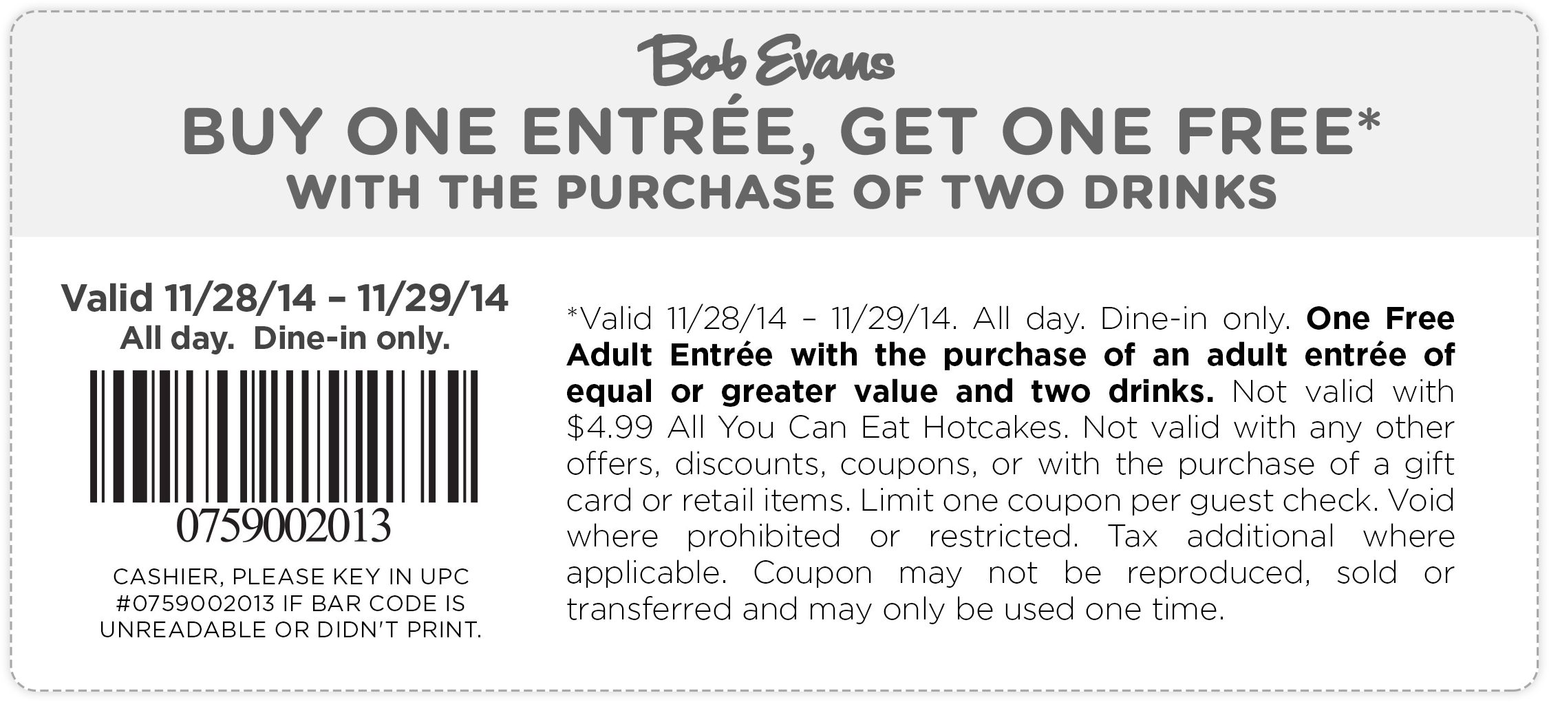 Bob Evans Coupon January 2017 Second entree free all day at Bob Evans
