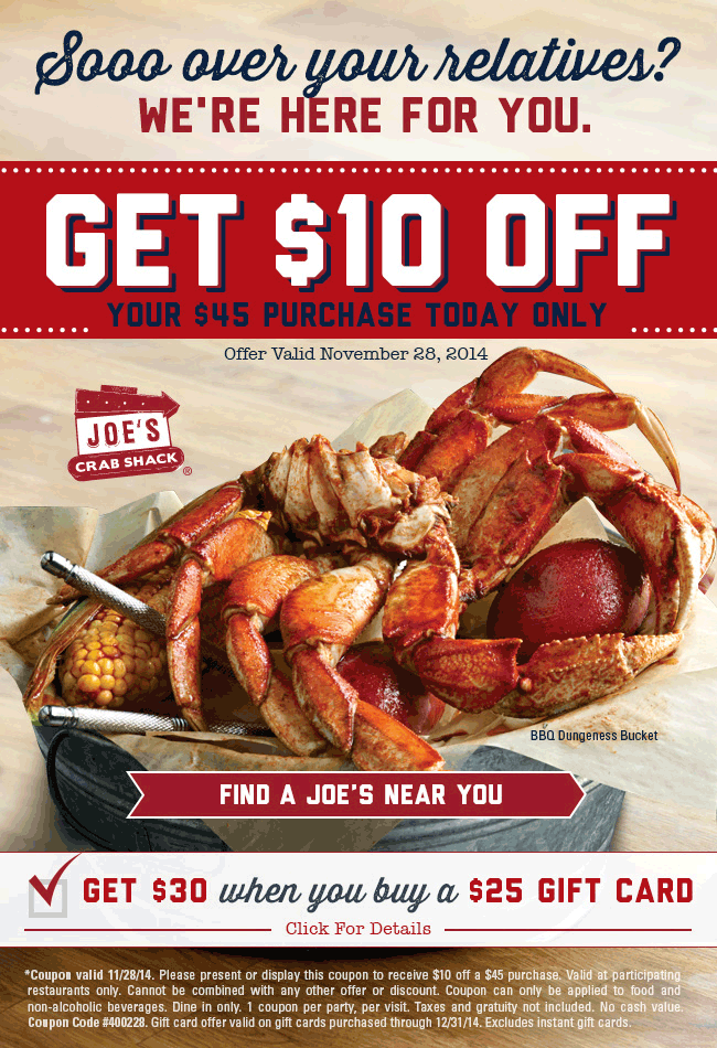 Joes Crab Shack Coupon November 2018 $10 off $45 today at Joes Crab Shack restaurants