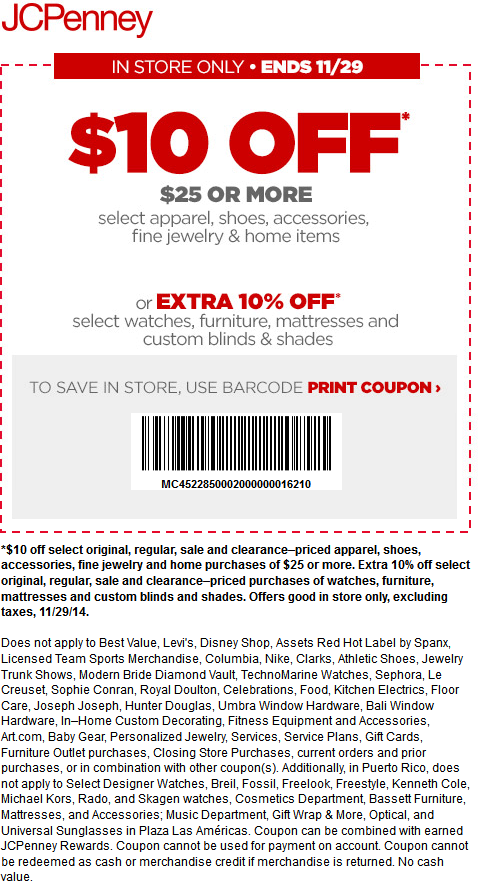JCPenney Coupon December 2016 $10 off $25 today at JCPenney