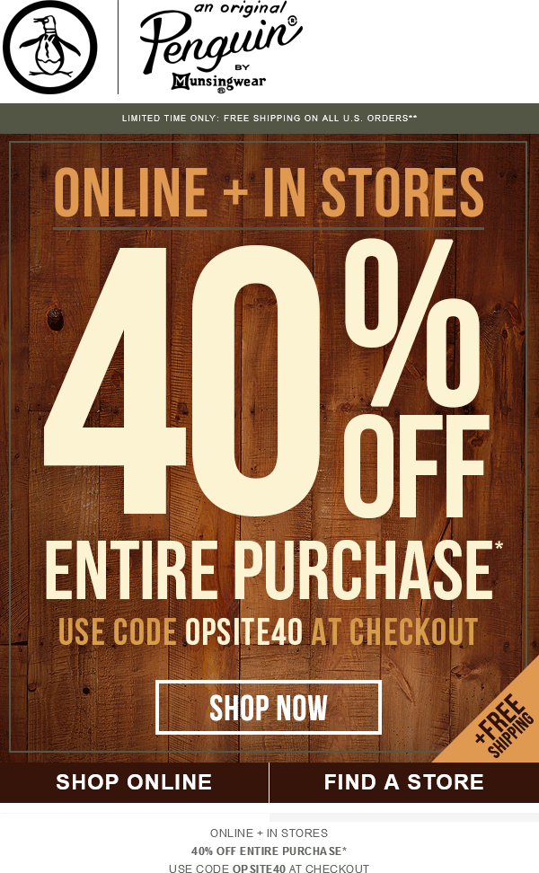 Original penguin coupon code