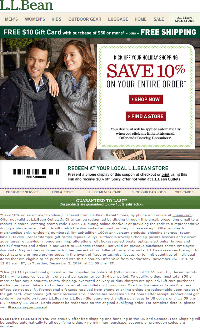 L.L. Bean Coupon February 2017 10% off at L.L. Bean, ditto online
