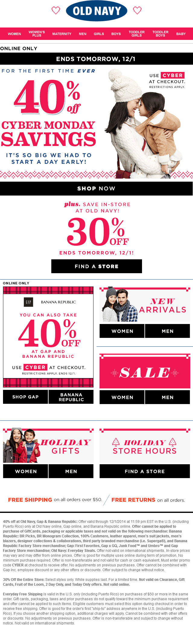 Old Navy Coupon September 2018 30% off at Old Navy, or 40% online via promo code CYBER